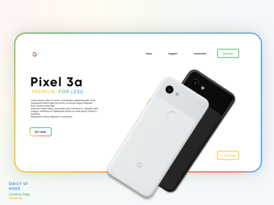 Google Pixel 3a Landing Page | Daily UI #003