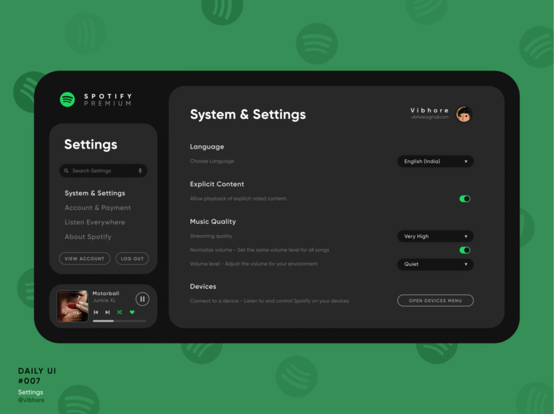 Spotify Settings | Daily UI #007 website web design userinterface user interface uiux ux ui spotify settings page settings ui settings redesign concept music player ui music player daily ui 007 dailyui007 daily ui dailyui app design 007