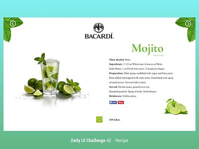 Recipe Mojito bacardi ron mojito recipe app icon web uichallenge dailyui user experience ui ux