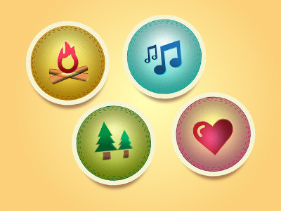 Camp Badges - Freebie vector camp badge music fire heart earth trees freebie free