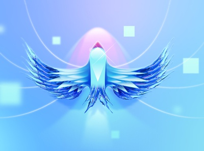 Flying through pixels brush brushes clean abstract animal motion motion design blue cyan vector illustration neon bird
