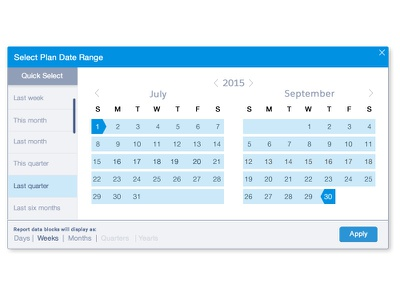 Select both date range and date display aggregate years quarters months weeks days flexible date selector quick select date aggregate date range date