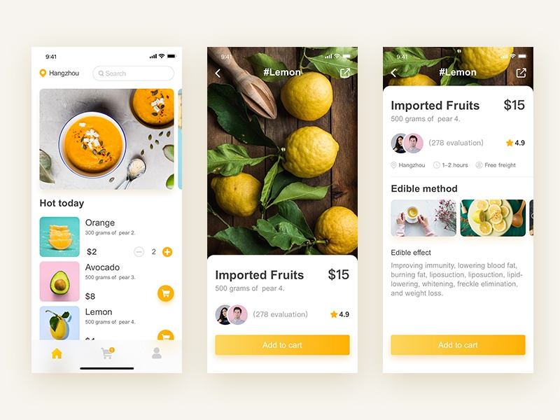Fruit delivery application 图标 设计 ux ui