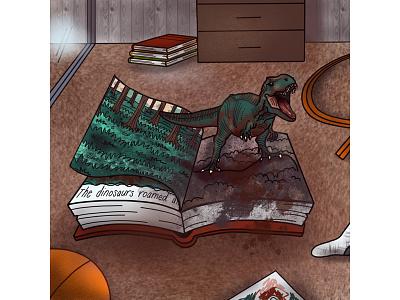 The dinosaurs are coming! illustration book dino dinosaur