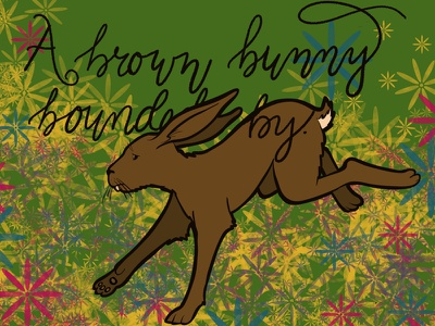 A brown bunny bounded by. lettering bunny rabbit illustration