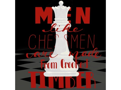 Hand lettered quote. queen game-piece chess illustration ipadpro handlettered