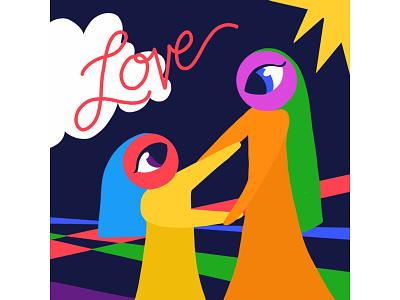Mother Love handlettering eyes girls love mother