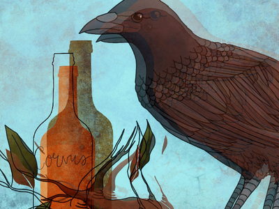 An old fable layers bird leaves bottle illustration crow