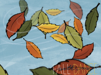 Fall Dance: with me autumn colors dance illustration handlettering wind fall leaves