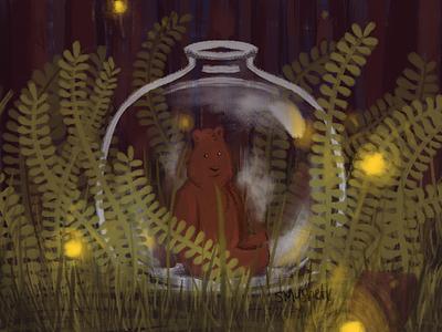 Bear in a Jar plants ferns lightning bugs light forest magic jar bear