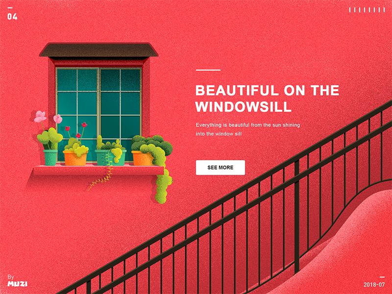 Beautiful on the windowsill illustration