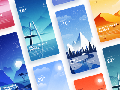 A set of weather illustration interfaces