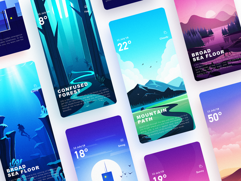 Weather illustration interface collection ux ui,app icon,ui app illustration