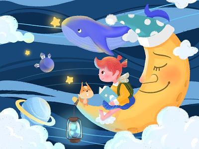 Girl's dream book night sky star girl app design illustration