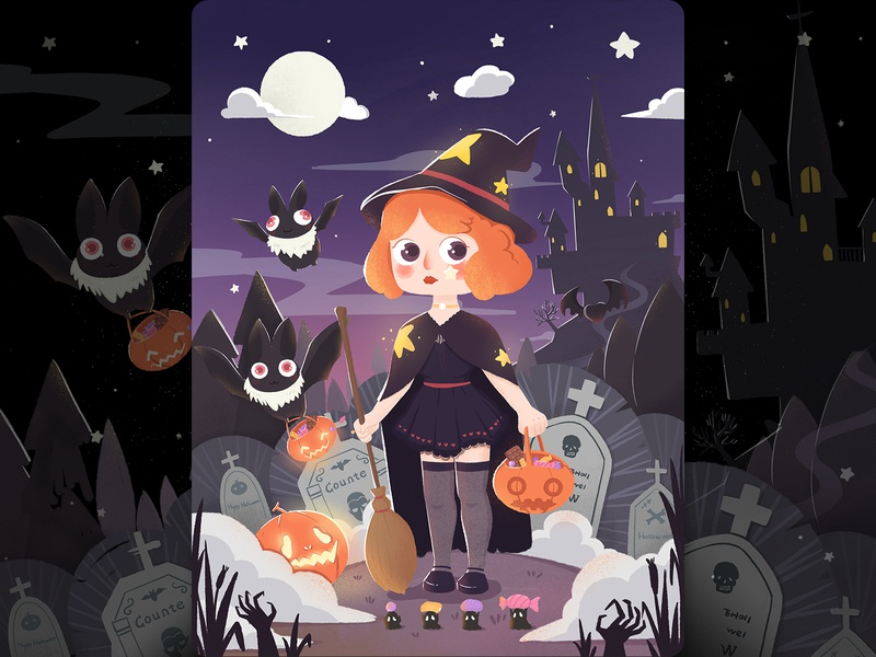 Halloween pumpkin castle halloween design illustration
