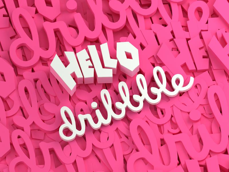HELLO dribbble 3-color hello dribble minimal artarea 3d design