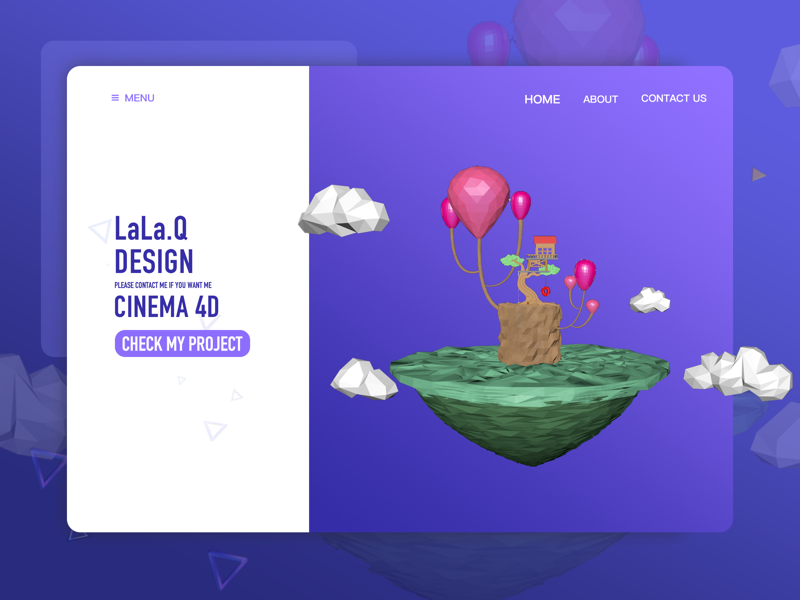 c4d neverland lowpoly design ui website sketch cinema4d photoshop