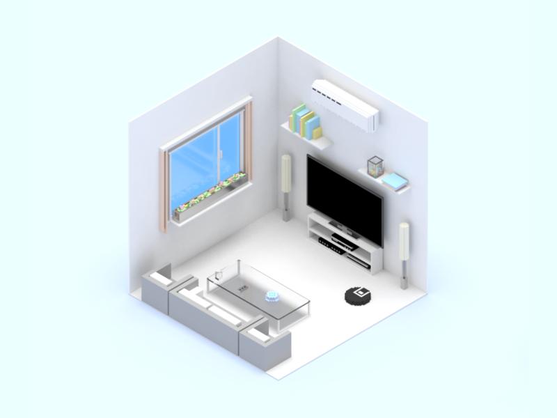 Smart Home Scene Living Room scene device smart home photoshop voxel 3d illustration invite sketch ui