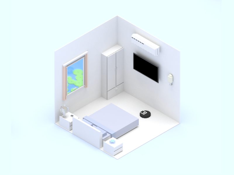 Smart Home Scene Bedroom scene device home voxel 3d invite dribbble sketch ui