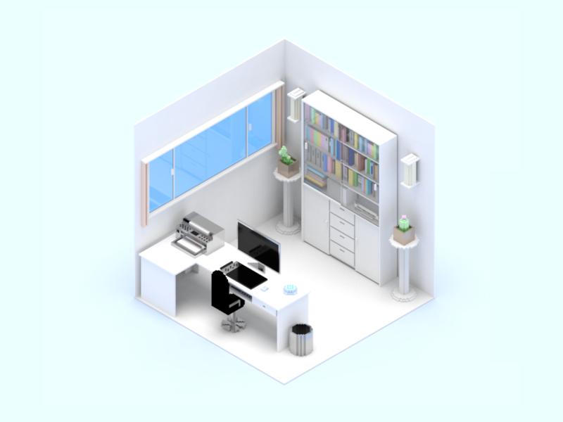 Smart Home Scene Study room voxel smart home device 3d illustration dribbble invite design sketch ui