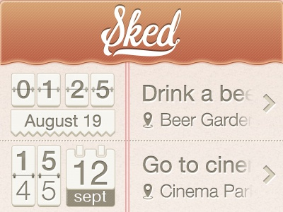 Sked Date and Time sked ui ux user interface date time