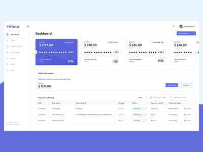 Virtual Cards Dashboard branding web wallet virtual card ux ui minimal design dashboad app