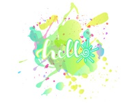 Lettering Hello on a splush of paint