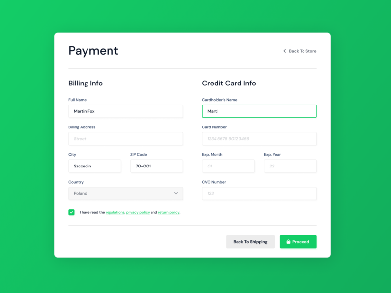 Credit Card Payment - Weekly UI 002 weeklyui 002 dailyui payment form payment application ui form webdesign