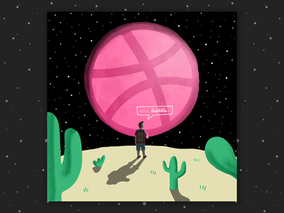Hello Dribble... cactus outdoor night design adventure moon new hello debut shot debut first shot hello dribbble illustration