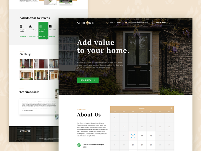 Landing Page for a Door Replacement Company uxdesign uxui uidesign landing page design landing page landingpage landing wood door brown green ux minimalism flat design website web ui