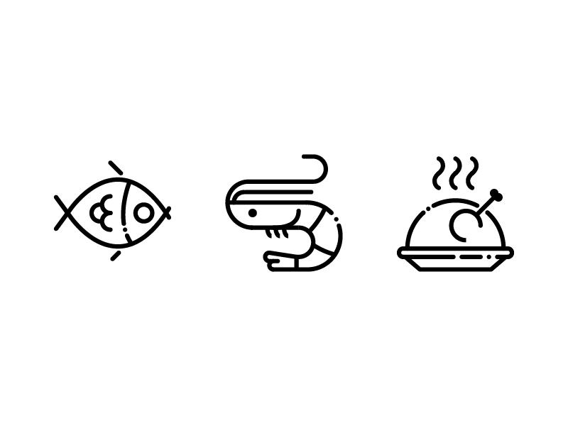 Food - Lipo Outline Icon Set outline prawn chicken fish icons icon set icon eat food