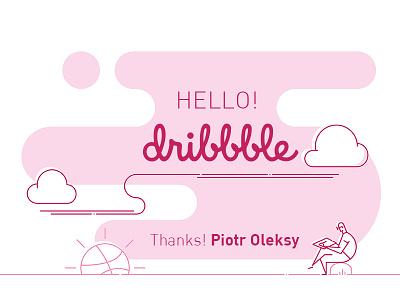 Hello Dribbble! drawing sunrise dribble hello