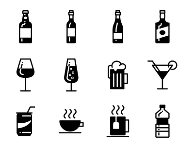 Drinks - Lipo Glyph Icon Set water tea coffe drinks soft drink cocktail gin whiskey wine beer