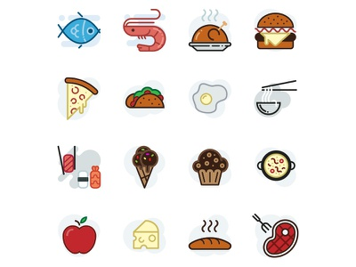 Food- Lipo Filled Icon Set ice cream cheese apple beef sushi chicken sellfish fish burguer icon desing food icon