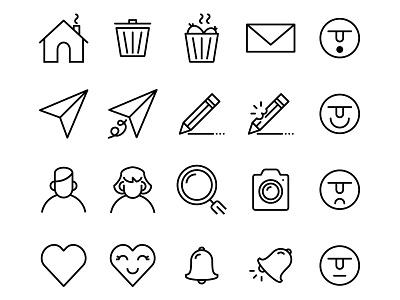 Ui Basic - Lipo Outline Icon Set search love user fun creative edit home send emoji icon ux ui