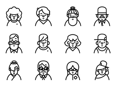 Profile - Lipo Outline Icon Set faces people user character profile