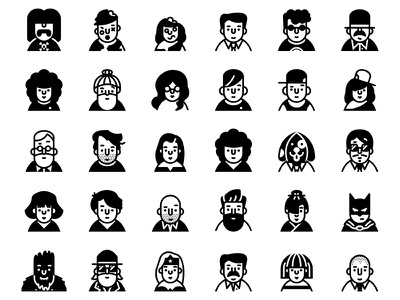 Profile - Lipo Glyph Icon Set avatar faces people user character profile
