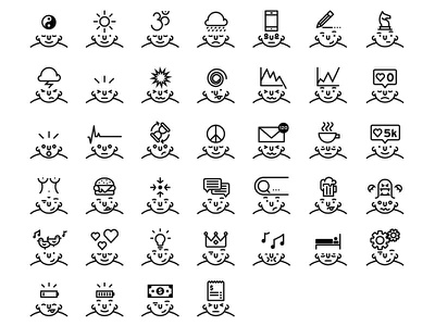 What's in your head? - Lipo Outline Icon set creative happy faces fun thinking think thoughts mind