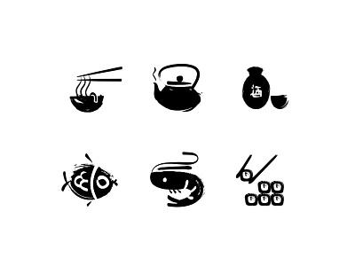 Sushi - Sumie Icon Set ink icons icon oriental style brush sumie sushi