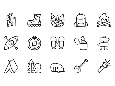 Doodle icon set illustration drawing minimal icons icon nature camping