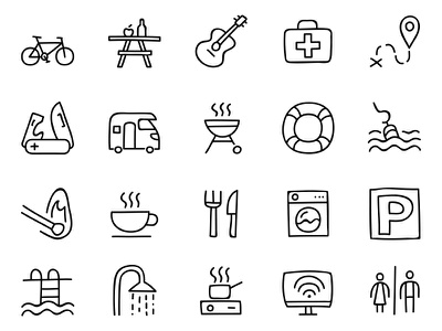 Doodle icon set icons icon handdrawn doodle nature camping