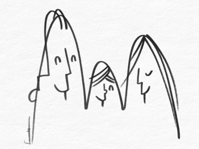 Family portrait family cartoon brush drawing ink linedrawing illustration drawing minimal