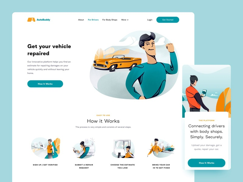AutoBuddy art illustration website web uiux ux ui page design color app