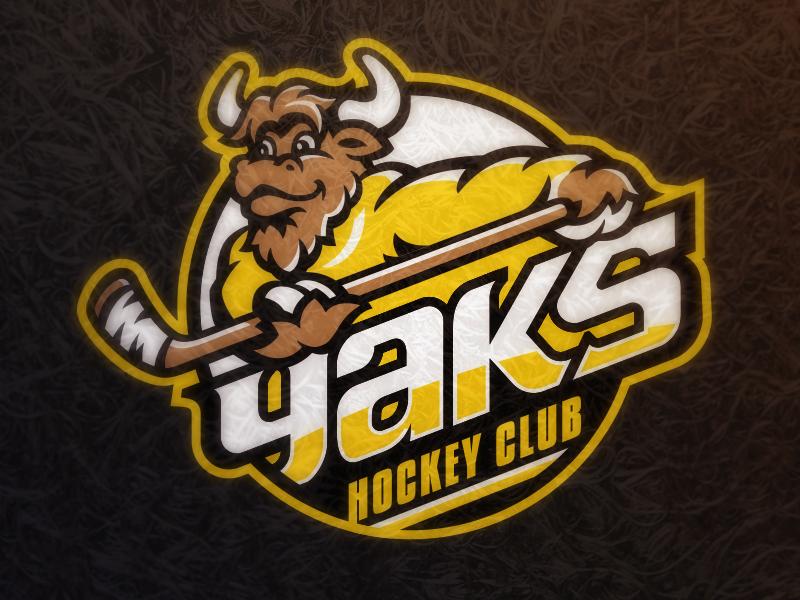 Yaks Hockey sports athletics badge logo hockey horns moose yak