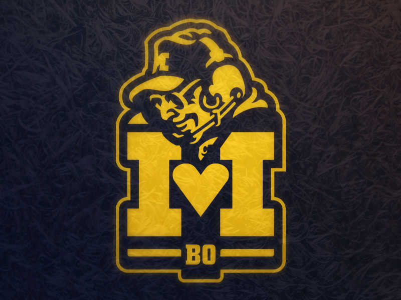 I  Heart Bo Schembechler mascot logo college football sports wolverines athletics football coach michigan schembechler bo