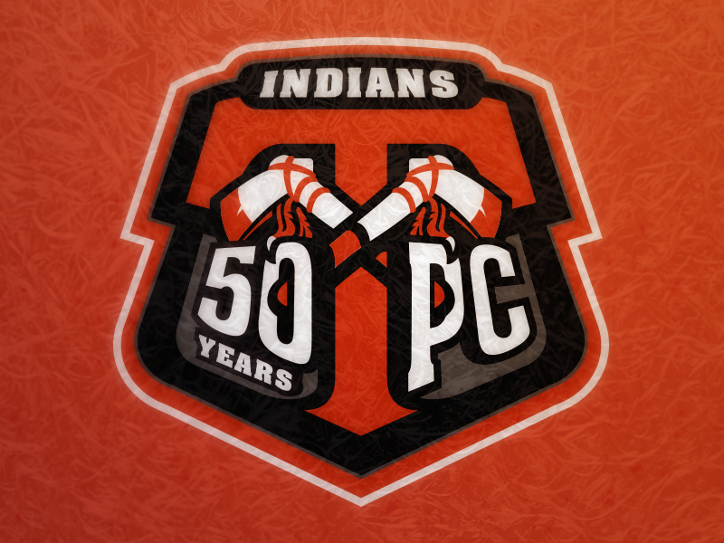 Techumseh 50 Years of Pat anniversary athletics logo sports tomahawk indian