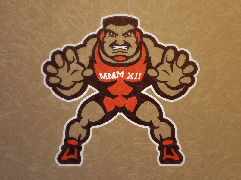 MMM XII sports athletics mascot event logo wrestling