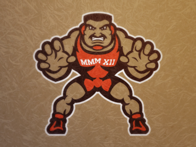 MMM XII sports athletics mascot event logo wrestling