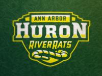 Huron River Rats Wordmark shield patch mascot high school huron concept logo michigan ann arbor