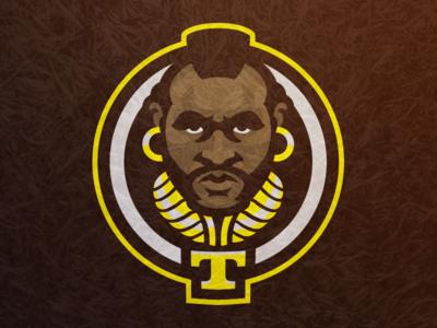 Mr. T sports fantasy football athletics logo mascot b.a. barracas a-team mr. t
